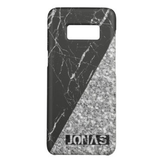 Monogrammed Gray Glitter And Black Marble Case-Mate Samsung Galaxy S8 Case