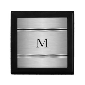 Monogrammed Gray Metallic Geometric Design Gift Box