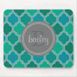 Monogrammed Gray Teal Modern Lattice Pattern Mouse Pad