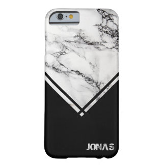 Monogrammed Gray White Marble Stone Black Triangle Barely There iPhone 6 Case