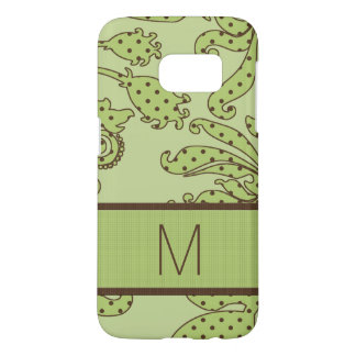 Monogrammed Green and Brown Floral Dots