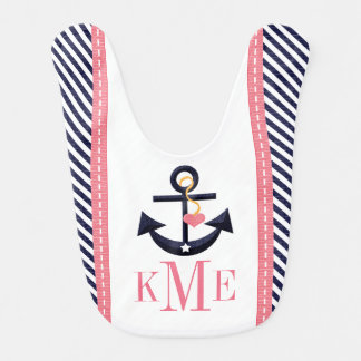 MONOGRAMMED GREEN AND NAVY ANCHOR HEART BIBS
