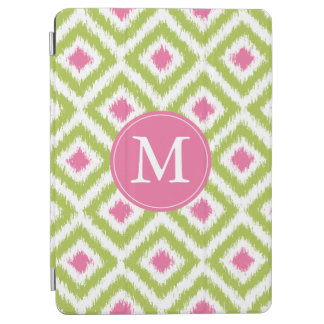 Monogrammed Green and Pink Diamond Ikat Pattern iPad Air Cover