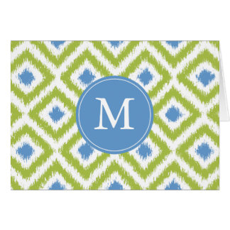 Monogrammed Green Blue Diamonds Ikat Pattern Card