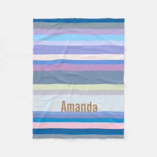 Monogrammed Green/Gray/Beige/Pink/Purple/Blue Fleece Blanket