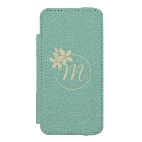 Monogrammed Green Leather Effect iPhone 5 Wallet Incipio