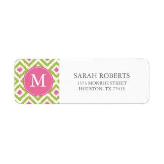 Monogrammed Green Pink Diamonds Ikat Pattern Return Address Label