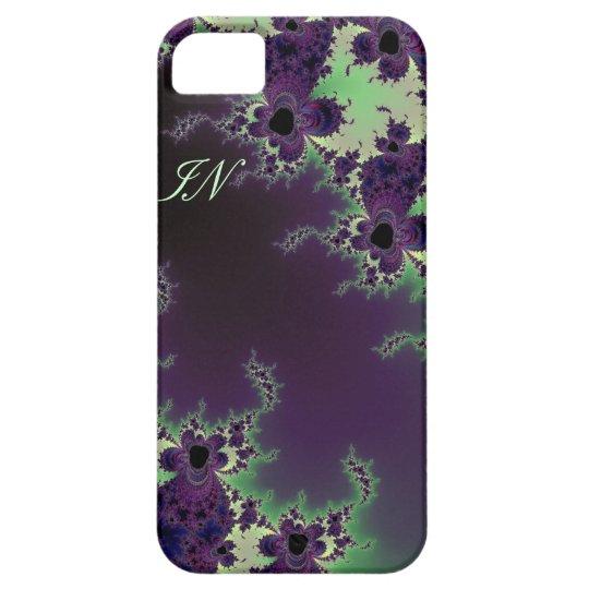 Monogrammed Green Purple Fractal Flower for iPhone Barely