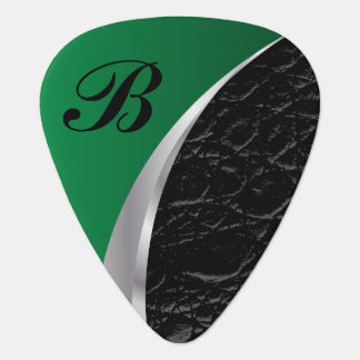 Monogrammed Green Silver and Black Leather Pick