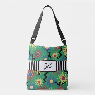 Monogrammed Green Sun Abstract Tote Bag
