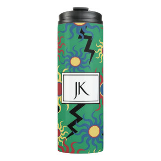 Monogrammed Green Sun & Lightning Thermal Mug