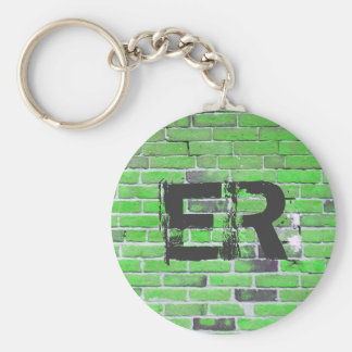 Monogrammed Green Vintage Brick Wall Texture Basic Round Button Key Ring