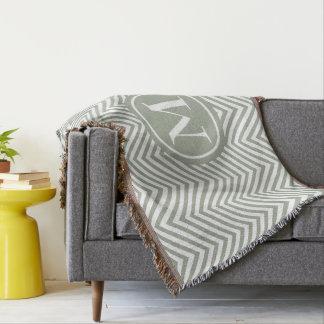 Monogrammed Green & White Zigzag-Throw Blanket 1