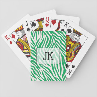 Monogrammed Green zebra stripe print playing cards