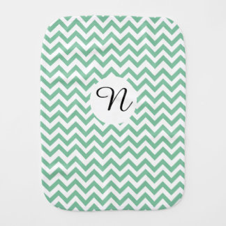 Monogrammed Green Zigzag Unisex Burp Cloth