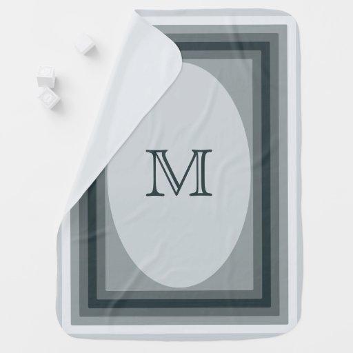 Monogrammed grey blue Baby Blanket