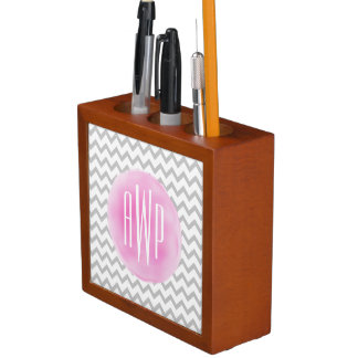 Monogrammed Grey Chevron + Pink Watercolor Desk Organiser