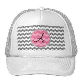 Monogrammed grey chevrons pink chevron circle cap