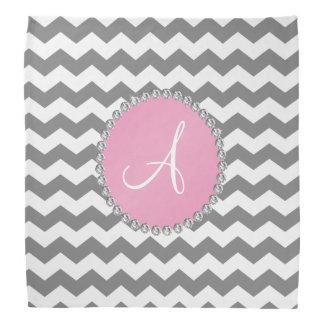 Monogrammed grey chevrons pink circle bandana