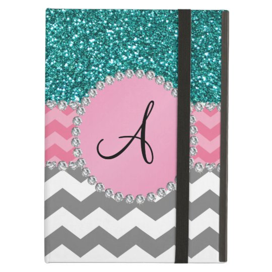 Monogrammed grey chevrons turquoise glitter case for iPad