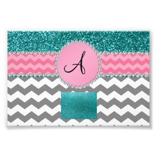 Monogrammed grey chevrons turquoise glitter photo print
