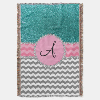 Monogrammed grey chevrons turquoise glitter throw blanket