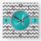 Monogrammed grey chevrons turquoise stripe square wall clock