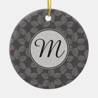 Monogrammed Grey Fabric Flowers Christmas Tree Ornament