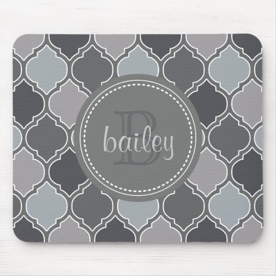 Monogrammed Grey Modern Lattice Pattern Mouse Mat