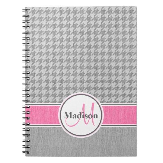 Monogrammed Grey Pink Houndstooth Pattern Notebooks