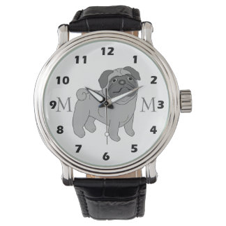 Monogrammed Grey Pug Dog Watch