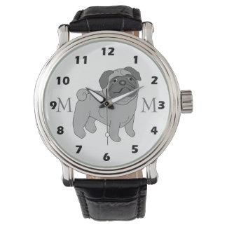 Monogrammed Grey Pug Dog Wristwatches
