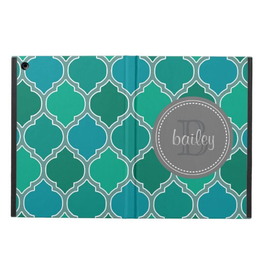 Monogrammed Grey Teal Modern Lattice Pattern Cover For