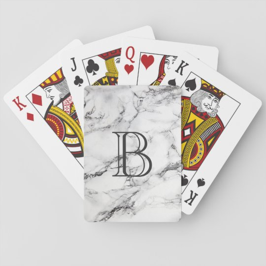 Monogrammed Grey & White Marble Texture Playing Cards