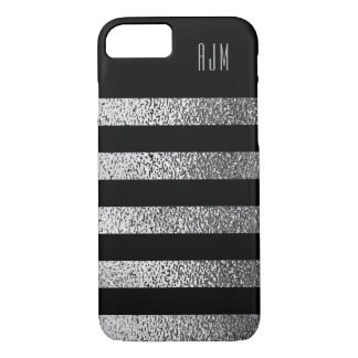 Monogrammed grunge SILVER Stripes Black Background iPhone 8/7 Case