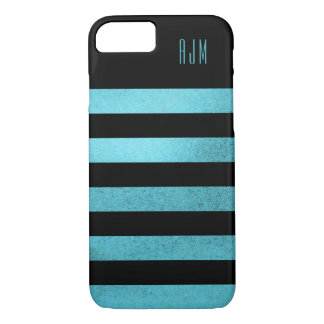 Monogrammed grunge teal Stripes Black Background iPhone 8/7 Case