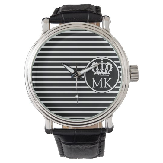 Monogrammed H Striped Royal Black Watch