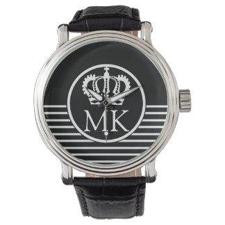 Monogrammed Half Striped Royal Black Watches