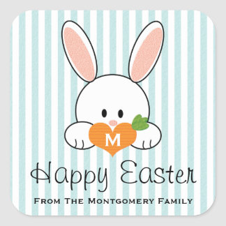 Monogrammed Happy Easter Bunny Seals Blue Square Sticker