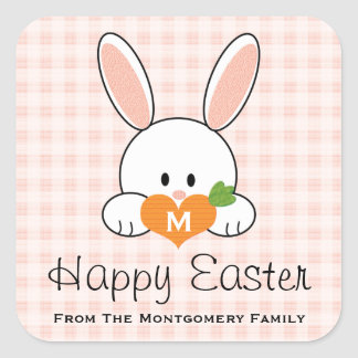 Monogrammed Happy Easter Bunny Seals Pink Gingham