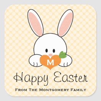 Monogrammed Happy Easter Bunny Seals Yellow