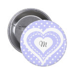 Monogrammed Heart Lilac & white polka dots pattern Badges