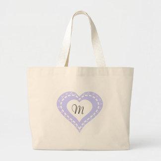 Monogrammed Heart Lilac & white polka dots pattern Jumbo Tote Bag