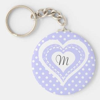 Monogrammed Heart Lilac & white polka dots pattern Key Ring