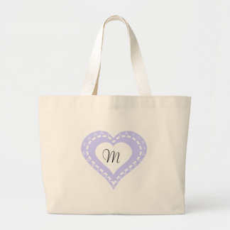 Monogrammed Heart Lilac & white polka dots pattern Large Tote Bag