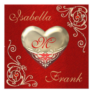 Monogrammed HEART Wedding or ANNIVERSARY Invitati Custom Invite
