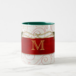 Monogrammed Holly and Red Ribbon with Swirls Two-Tone Coffee Mug