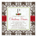 Monogrammed Holly Berry Christmas Party Invitation