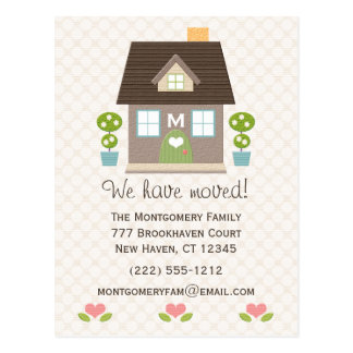 Monogrammed Home Moving Announcement Postcard