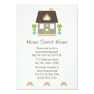 Monogrammed Home Sweet Home Housewarming Party 13 Cm X 18 Cm Invitation Card
